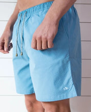Load image into Gallery viewer, Sky Blue Searsucker Swim Trunks - Fish Hippie