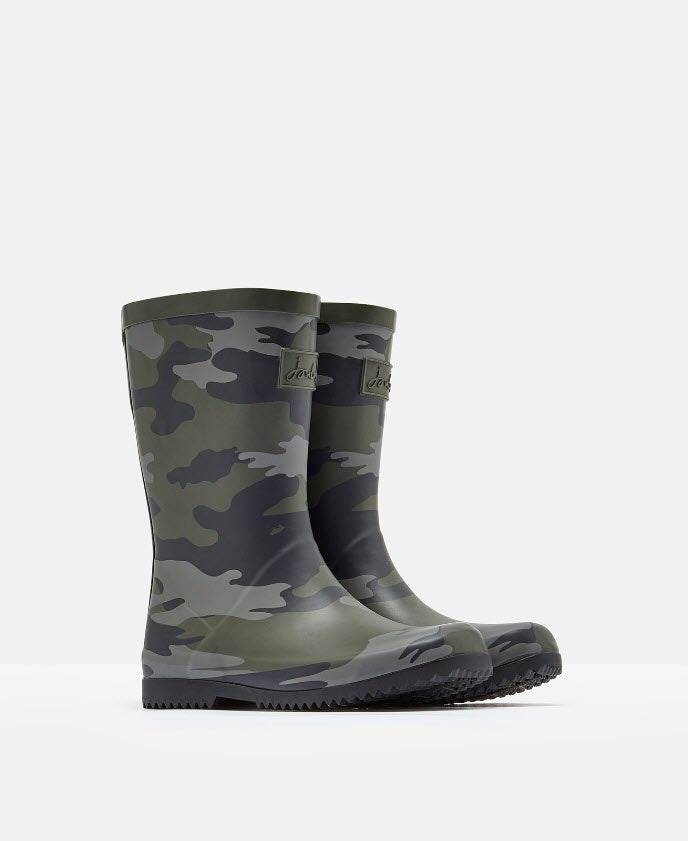 Joules Roll Up Rain Boots Camo