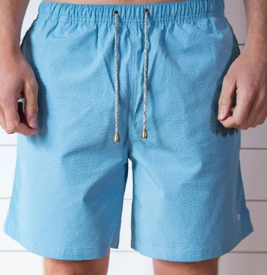 Sky Blue Searsucker Swim Trunks - Fish Hippie