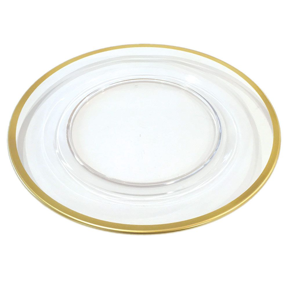 Caspari Acrylic Plate Charger with Gold Rim