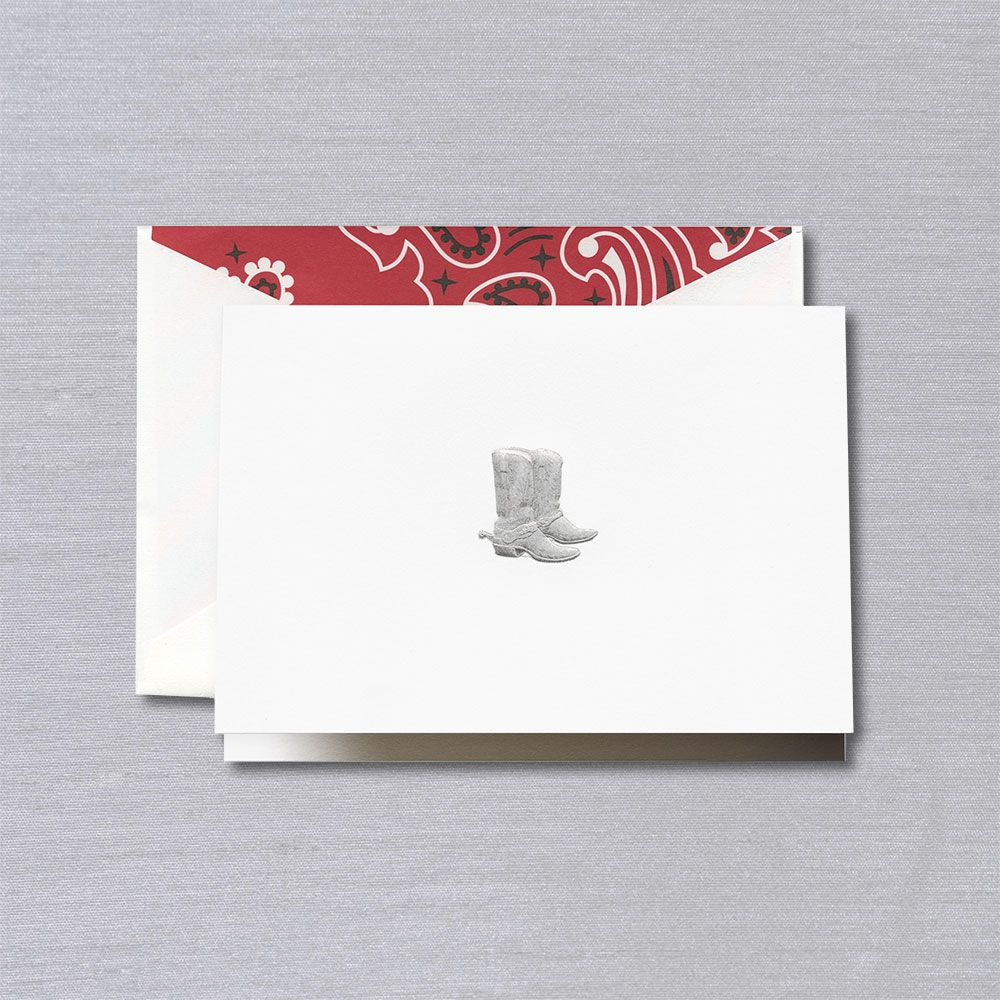 Crane Engraved Cowboy Boots Notes