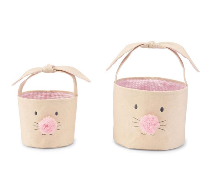 Pink Easter Bunny Canvas Basket Set