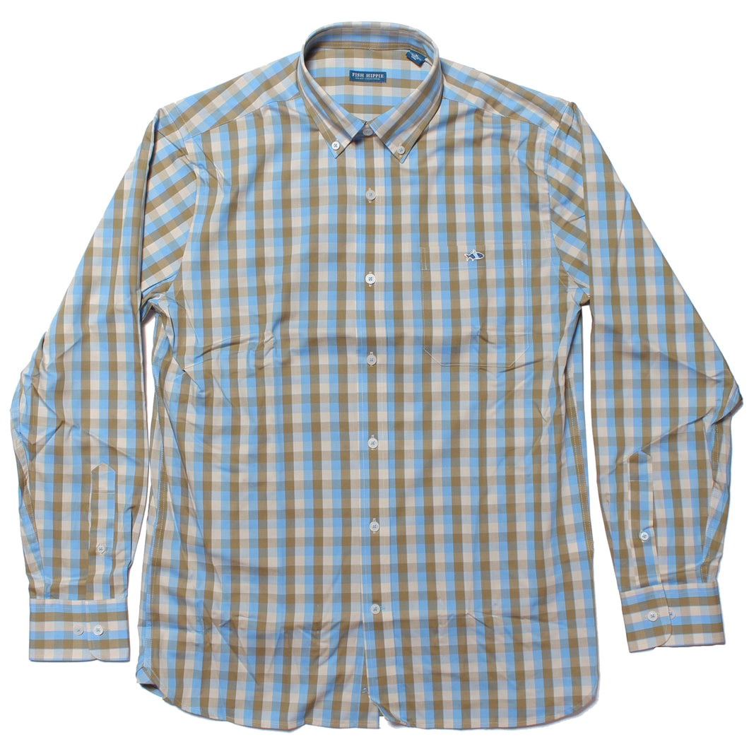 Fish Hippie Stillbrook Check Gulf Blue Buttondown