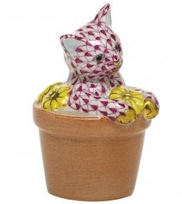 Herend Flower Pot Kitty in Pink