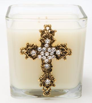 Faith Square Gold Candle - Frankincense and Myrrh - 20oz.
