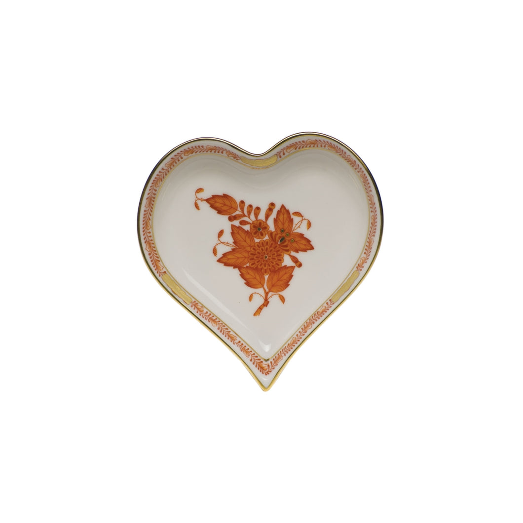 Herend Chinese Bouquet Rust Small Heart Tray