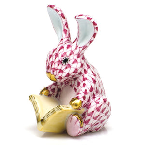Herend Figurine Storybook Bunny Raspberry Fishnet