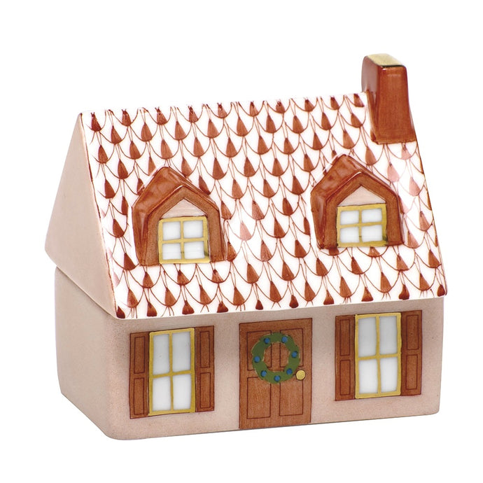 Herend Home Sweet Home Covered Box - Rust