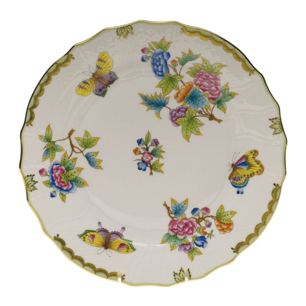 Herend Queen Victoria Green Border Dinner Plate
