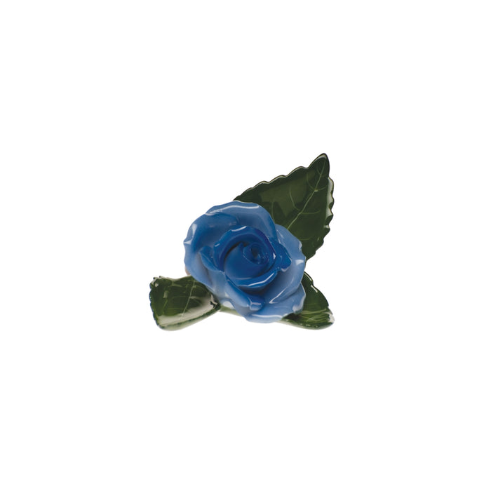 Herend Rose on Leaf - Blue