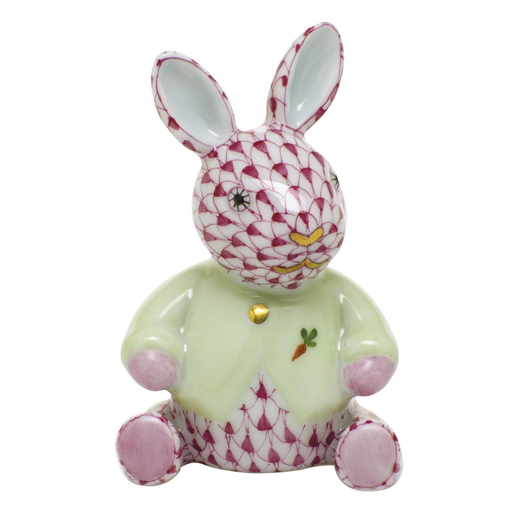 Herend Sweater Bunny Rabbit Figurine Raspberry Fishnet