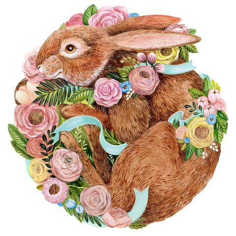Die-Cut Bunny Bouquet Placemat Hester and Cook