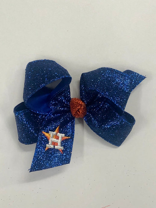 Astros Blue Sparkle Hair Bow
