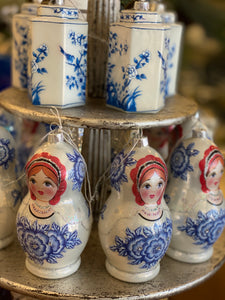 Babushka Blue & White Ornament