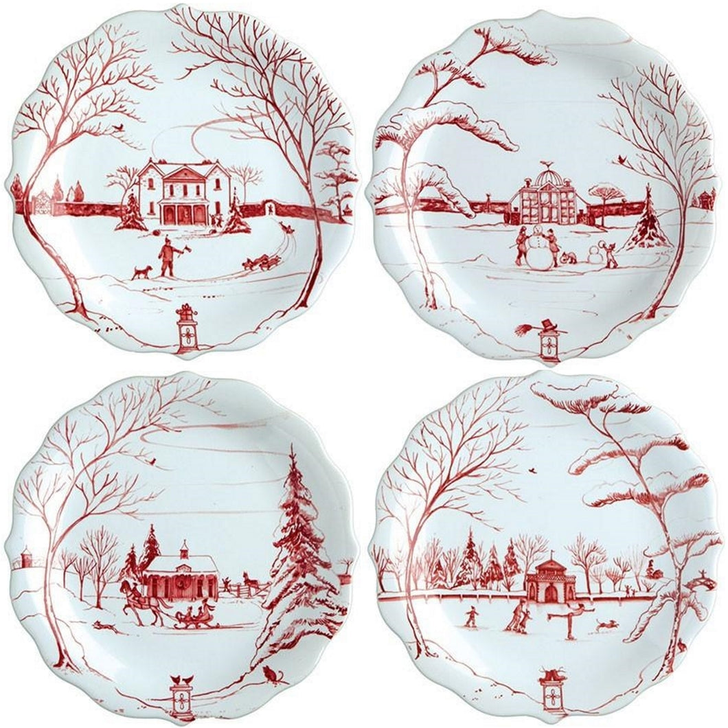 Juliska Country Estate Winter Frolic Ruby Party Plate Set