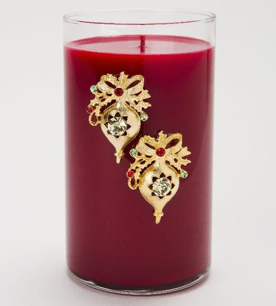 Crystal Embellished Gold Ornaments Glass Candle NOEL by LUX