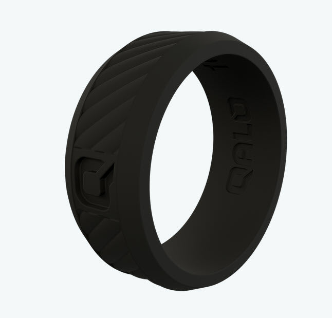 QALO Step Edge Q2X Silicone Wedding Ring - Black