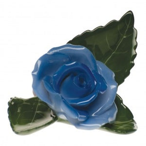 Blue Rose on Leaf by Herend