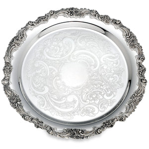 "Reed & Barton Burgundy Silverplate 13"" Round Tray"