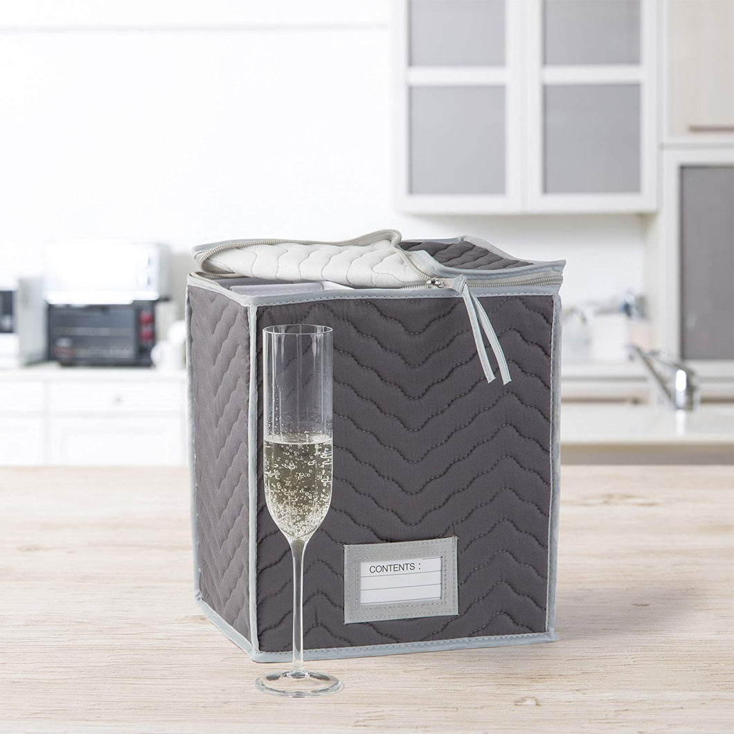 Richards Homewares Microfiber Deluxe Champagne Flute Storage Chest