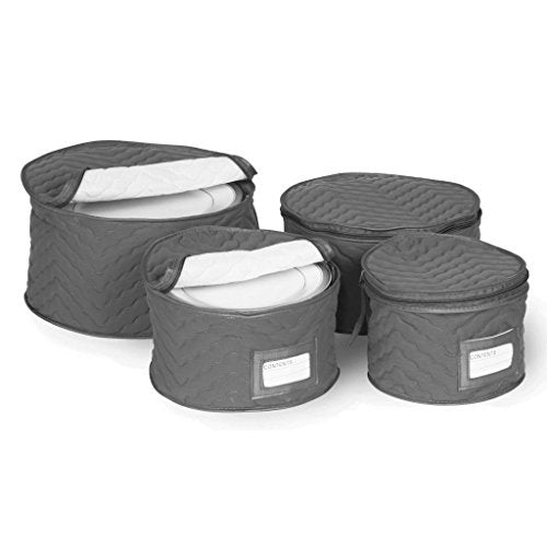 Richards Homewares Set of 4 Micro Fiber Quilted Deluxe Plate Cases
