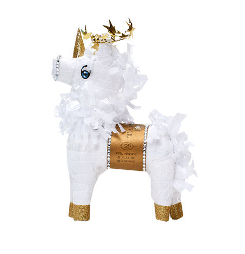 Mini Tabletop Unicorn Pinata with 6 Prizes - White