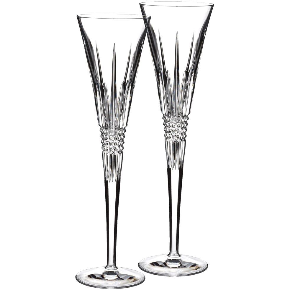 Waterford Lismore Diamond Toasting Flutes Pair