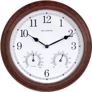 "AcuRite 13"" Rustic Indoor/Outdoor Wall Clock with Thermometer and Humidity"