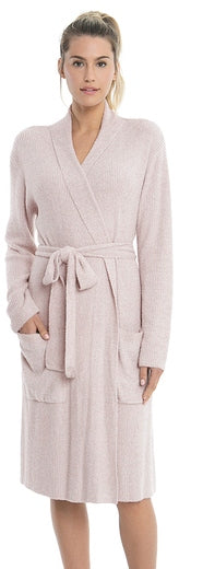 Barefoot Dreams CozyChic Lite Heather Rib Robe in Rose and Pearl in S/M