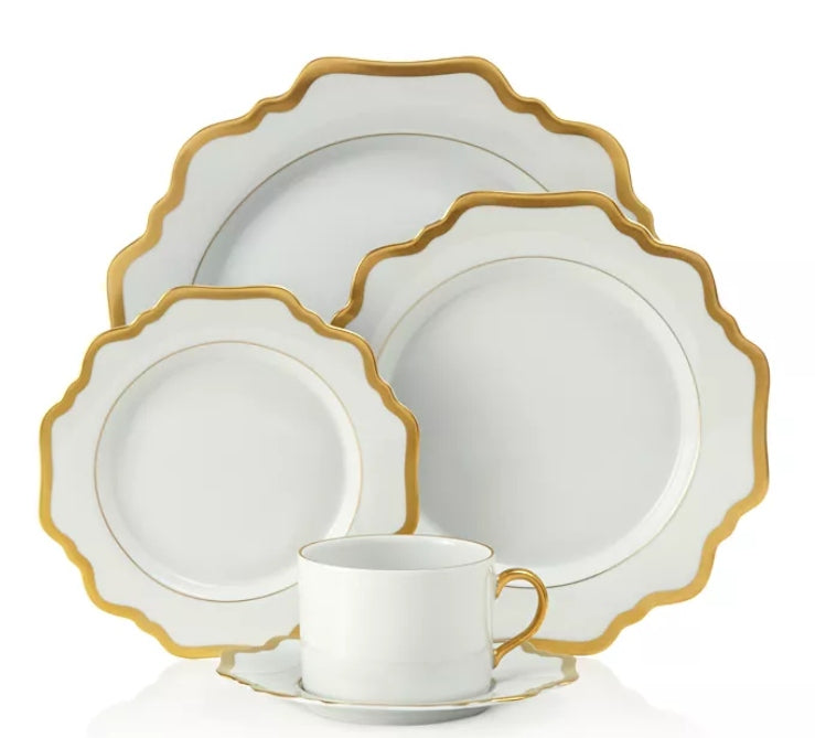 Antique White with Gold Dessert Plate by Anna Weatherley