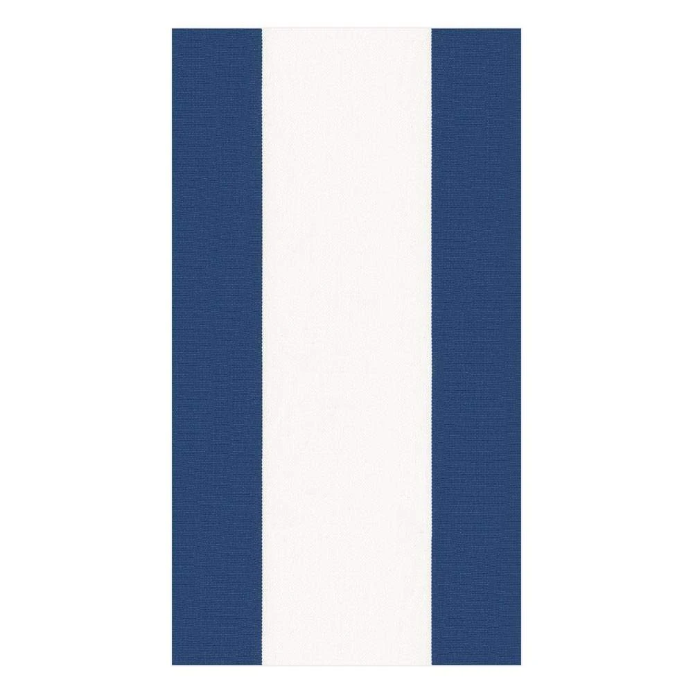 Caspari Bandol Stripe Paper Guest Towel Napkins in Navy - 15 Per Package