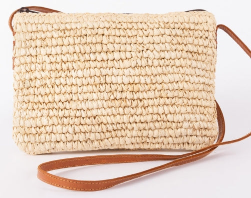 Raffia Crossbody with Leather Strap