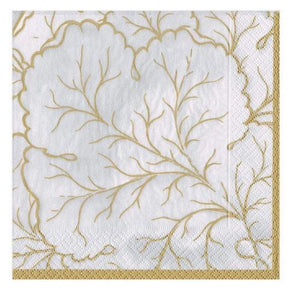 Caspari Gilded Majolica Paper Luncheon Napkins in Ivory - 20 Per Package