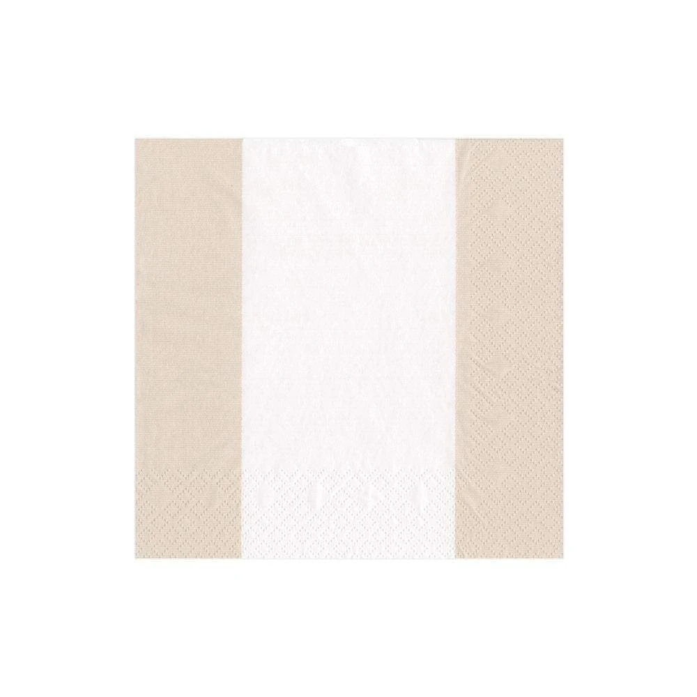 Caspari Bandol Stripe Paper Luncheon Napkins in Natural - 20 Per Package