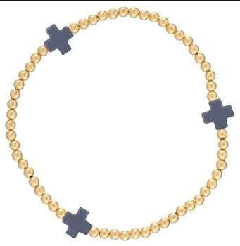 Cross Gold Bead Bracelet with Coral - by Enewton Designs