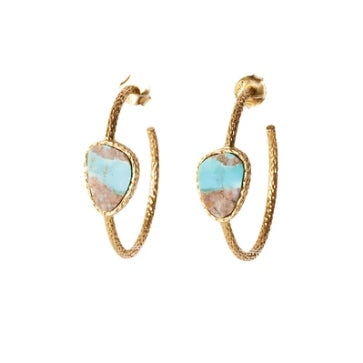 Christina Green Hoop Earrings in Turquoise