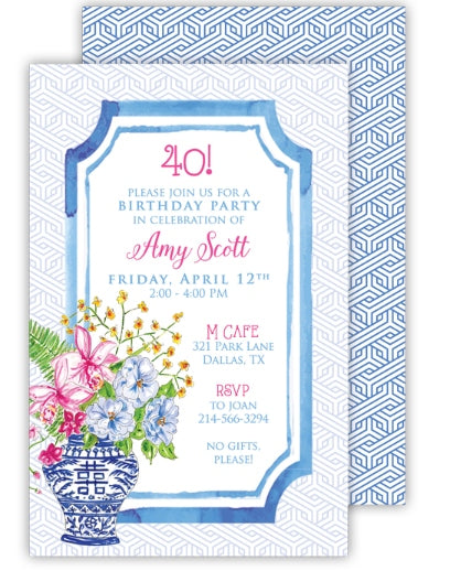 Blank Floral Arrangement Invitation - Rosanne Beck Collection