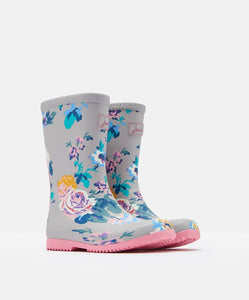 Joules Roll Up Rain Boots Gray Floral