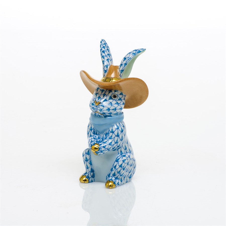 Herend Cowboy Bunny, Blue