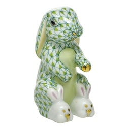 Herend - Bunny Slippers - Pink & Green