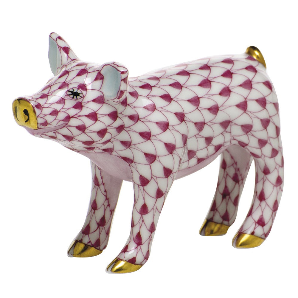 Herend Smiling Pig Pink