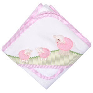 3 Marthas Pink Little Lambs Hooded Towel & Washcloth