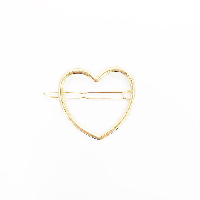 Hazen Heart Barrette - Gold
