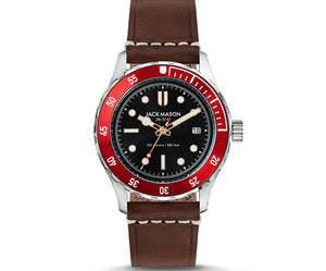 Jack Mason Diver Watch Red Brown