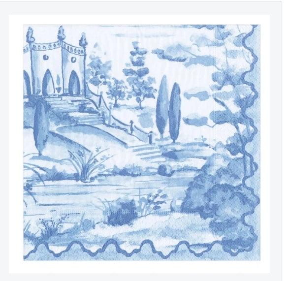 Caspari - Tuscan Toile Paper Luncheon Napkins in Blue - 20 Per Package