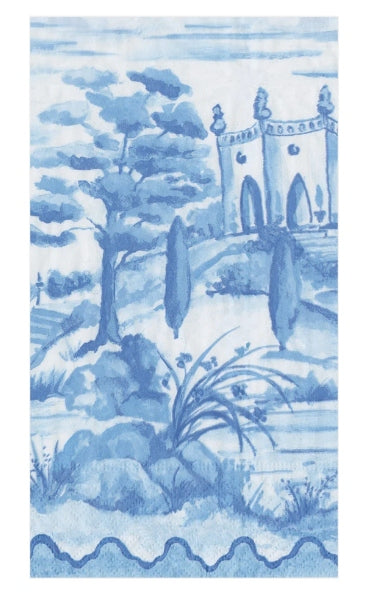 Tuscan Toile Paper Guest Towel Napkins in Blue - 15 Per Package