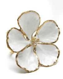 Dogwood White Flower with Gold Napkin Ring