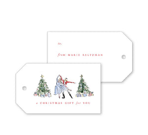 Nutcracker Toile Ballet Gift Tags - Dixie Designs