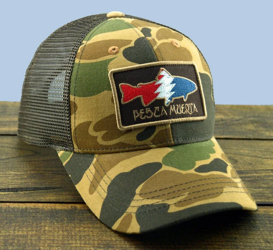Camo Trout Patch Mesh-Back Trucker Hat - Pesca Muerta