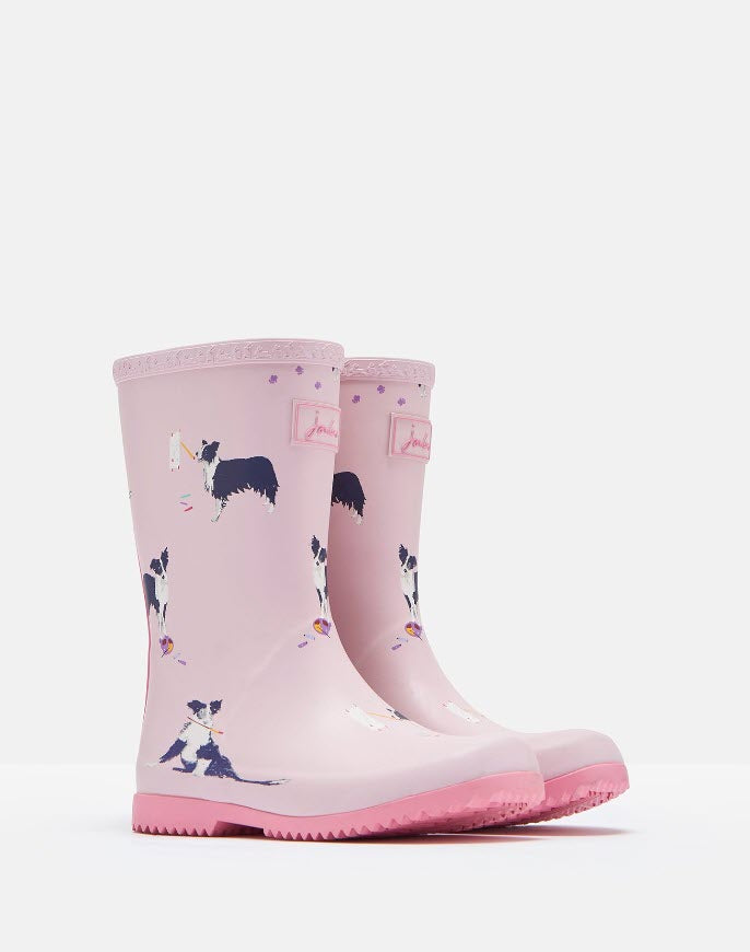 Joules Roll Up Rain Boots - Pink Dog